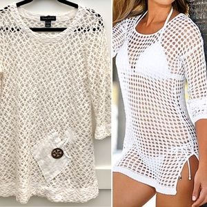 Vintage 80s/90s Crochet White Tunic Top Sz Sm